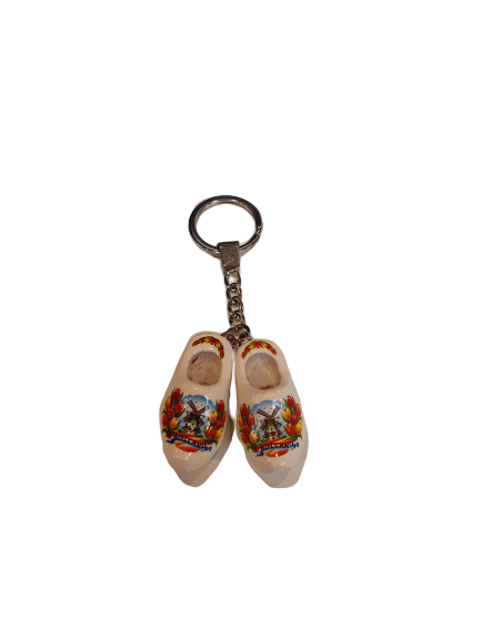 Wooden shoes keychain white