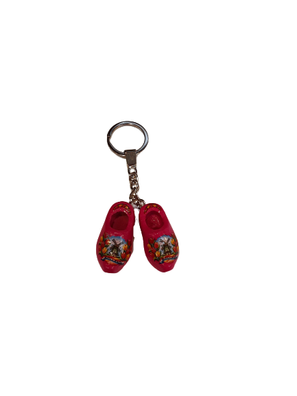 Wooden shoes keychain orange