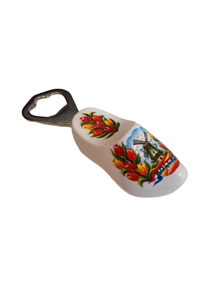 Wooden shoe bottle opener white
