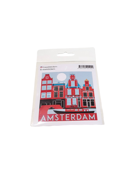 Sticker Amsterdam canalboat and houses