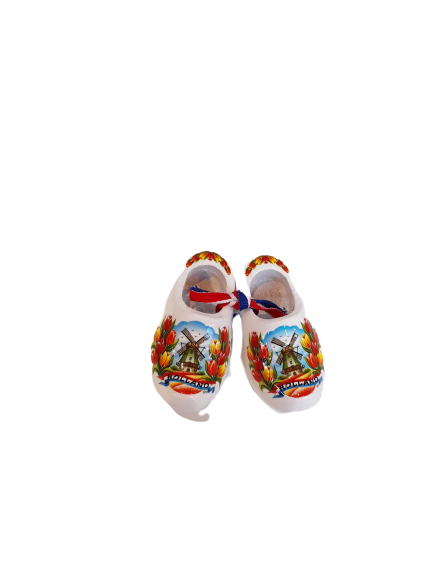 Wooden shoes 6 cm white