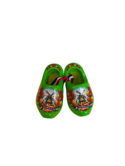 Wooden shoes 8 cm lime