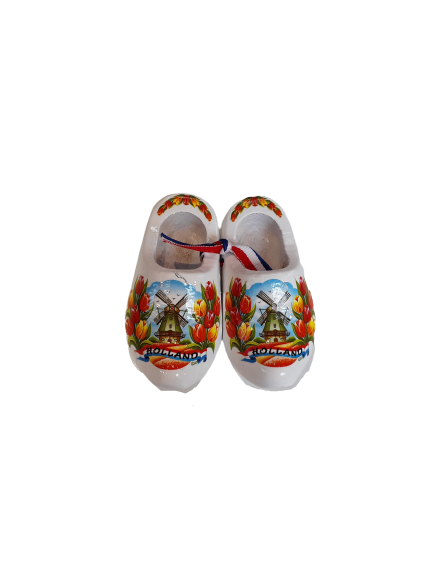 Wooden shoes 8 cm white
