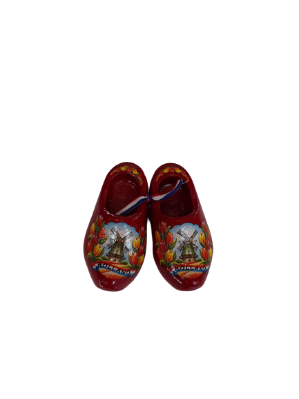 Wooden shoes 10 cm red