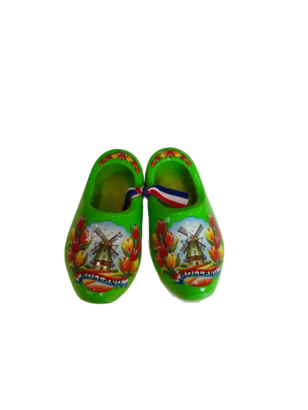 Wooden shoes 10 cm lime