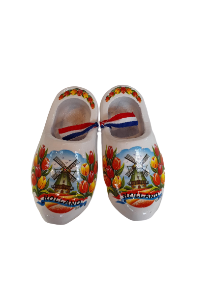 Wooden shoes 10 cm white