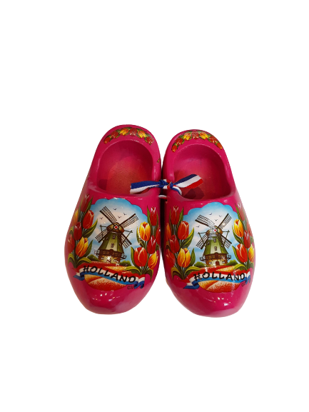 Wooden shoes 14cm pink