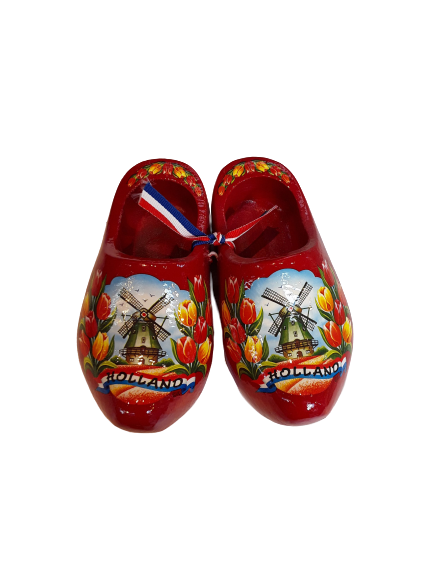 Wooden shoes 14cm red