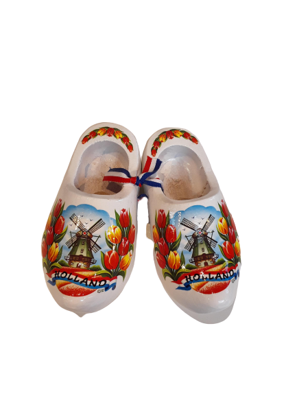 Wooden shoes 14cm white