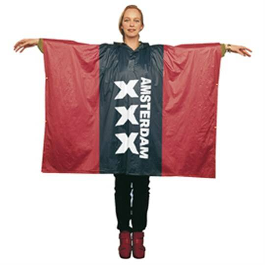 Red poncho Amsterdam Adult