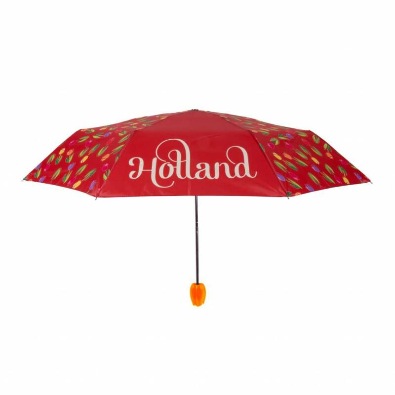 Umbrella red with tulips Holland