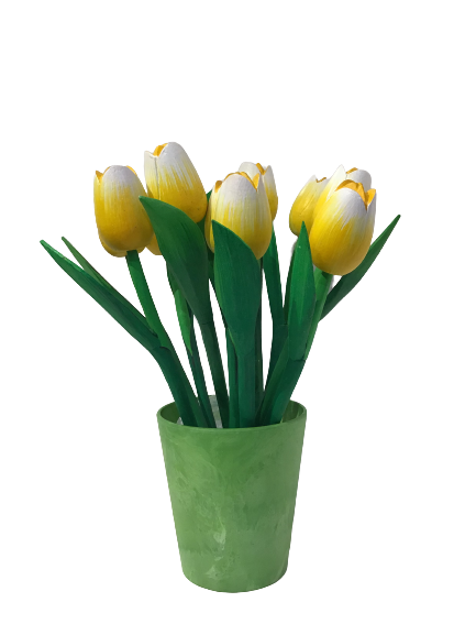 10 wooden tulips large