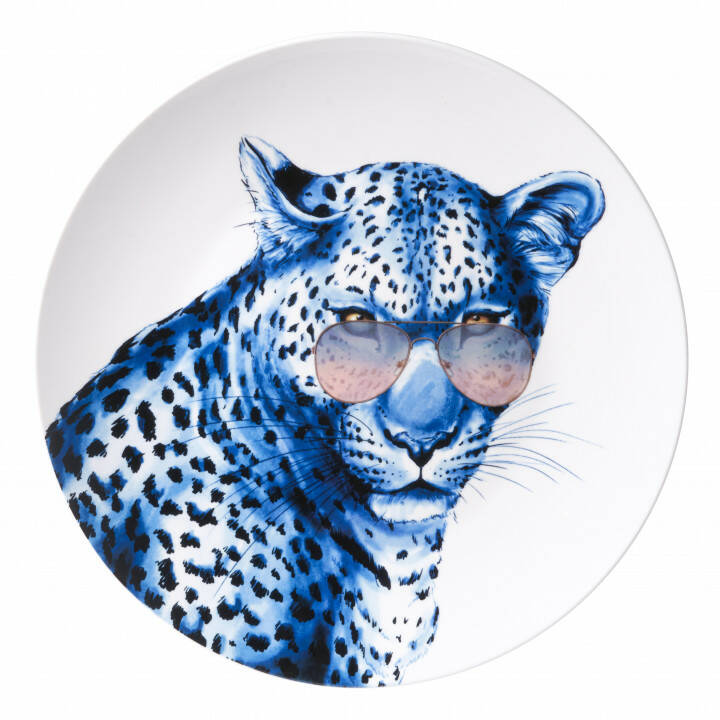 Plate: Leopard with glasses