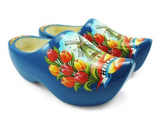 Blue wooden shoes