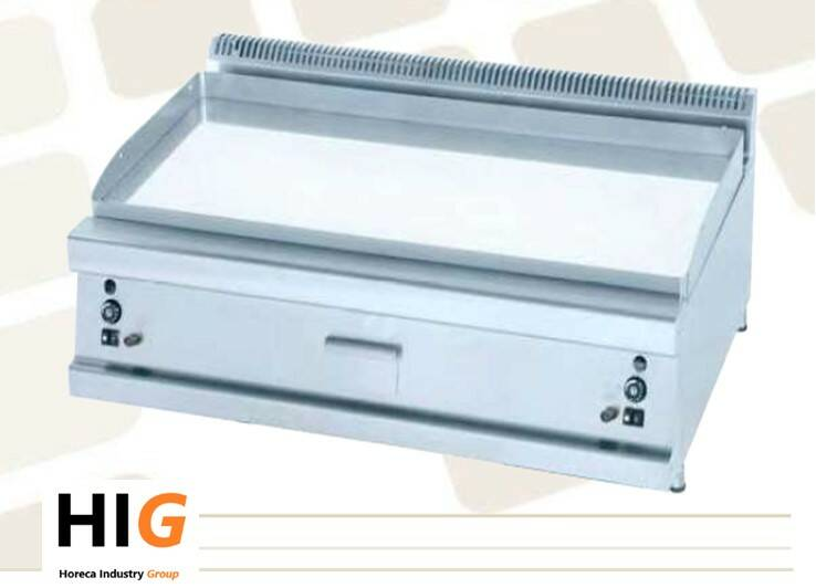 Frytop Opzet CrD.15mm - Line 750 - GAS - 800mm Breed - Glad - 203624S