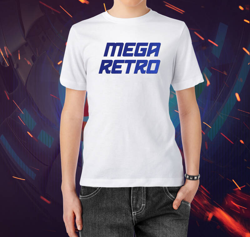 T-shirt Mega Retro Flex Bleu (White M)