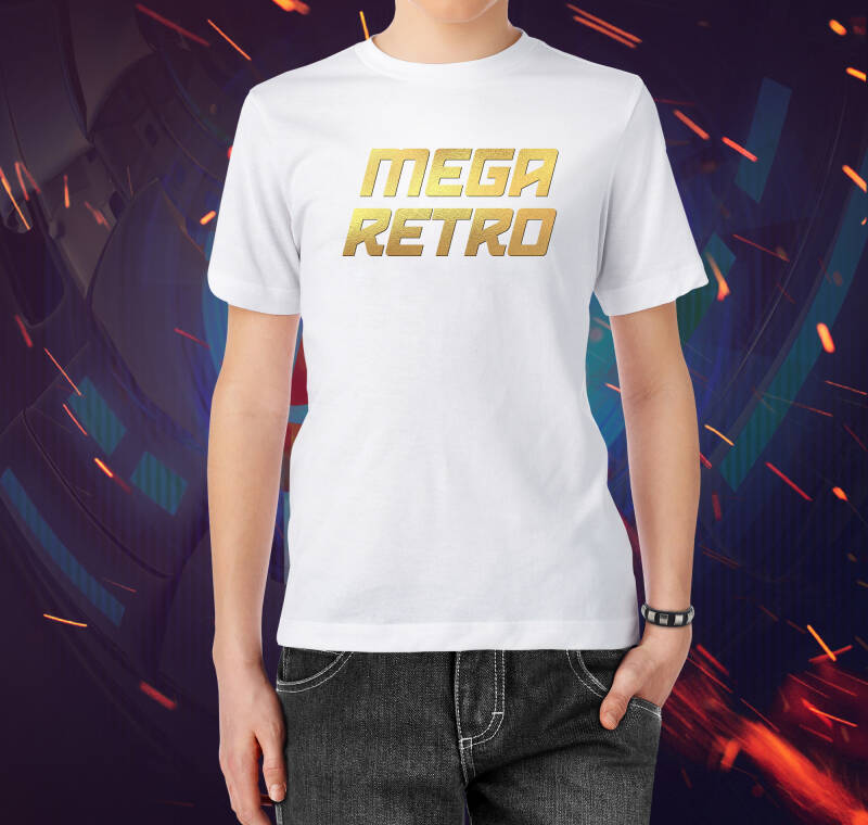 T-shirt Mega Retro Gold (White)(M)