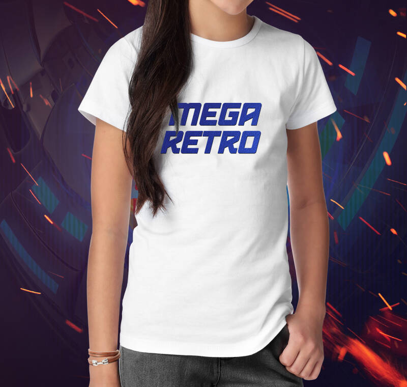 T-shirt Mega Retro Flex Blue (White V)