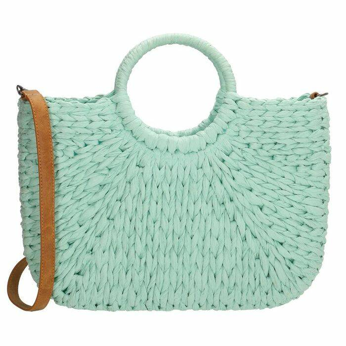 Zomerse shopper van cellulose - turquoise