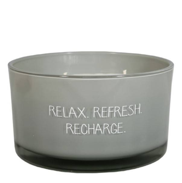 My Flame sojakaars 3 lonten in glas - relax refresh recharge -