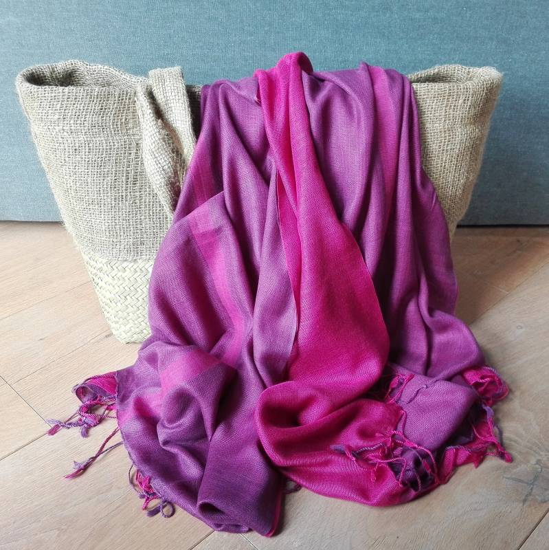 Fairtrade sjaal pink peacock en purper
