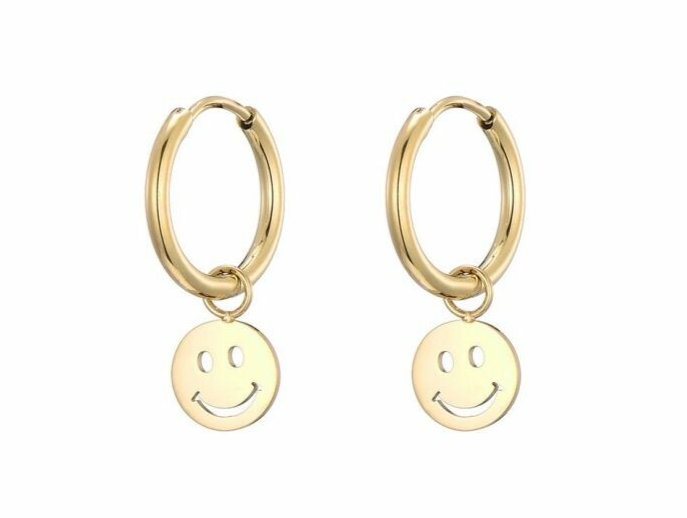 Oorbellen smiley goud