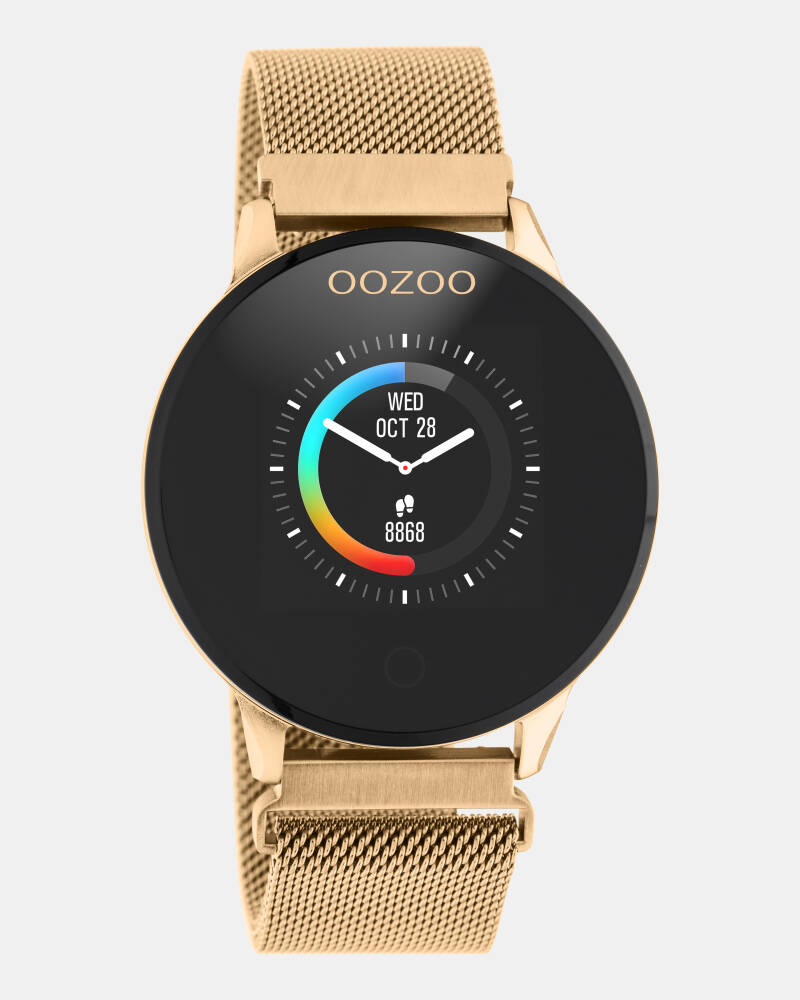 OOZOO smartwatch rose goud mesh band