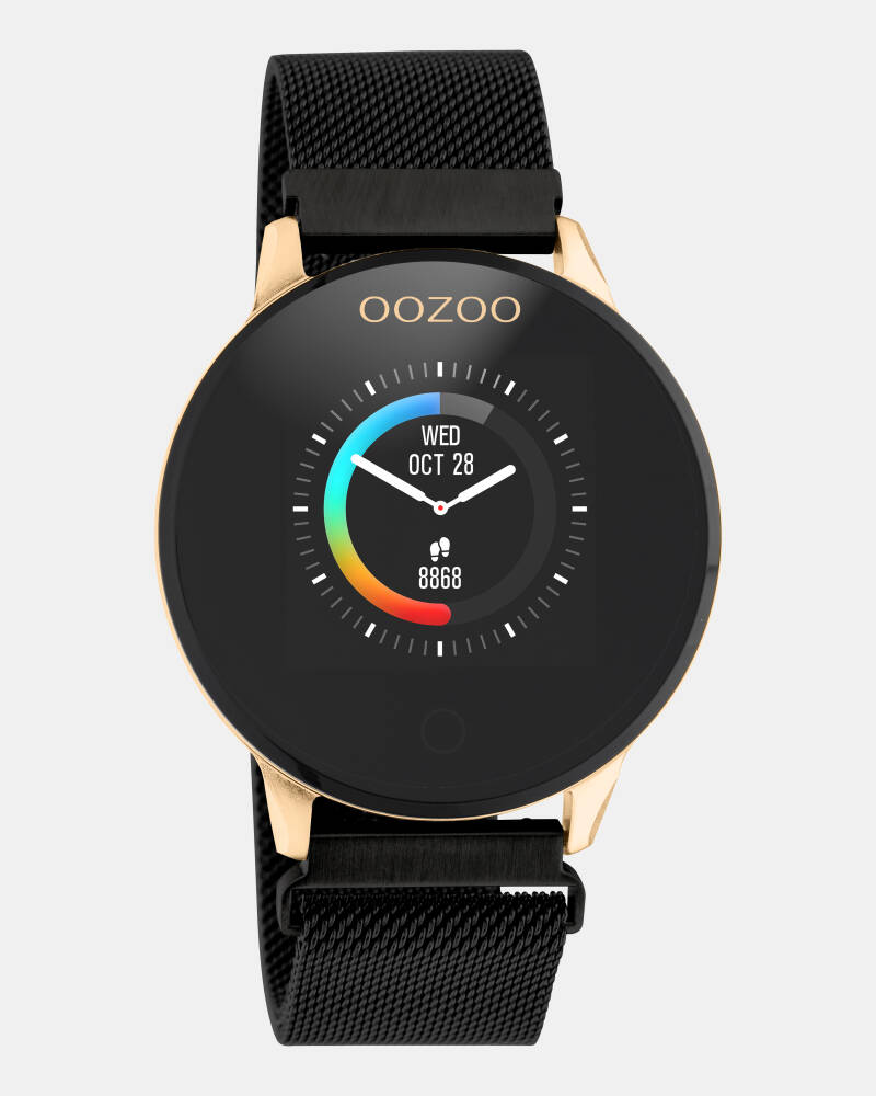 OOZOO smartwatch zwarte metalen band rose kast