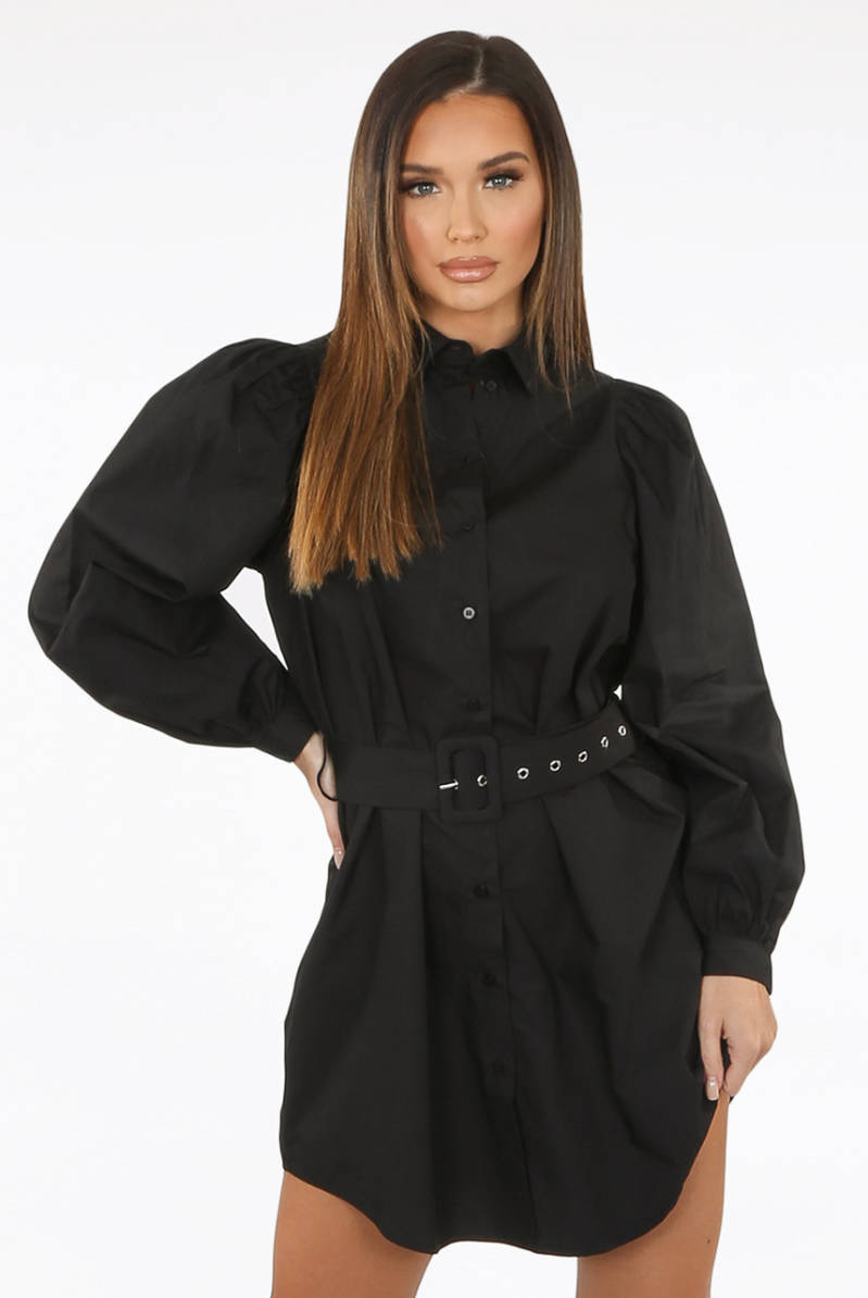 Belted Shirt Dress Black
