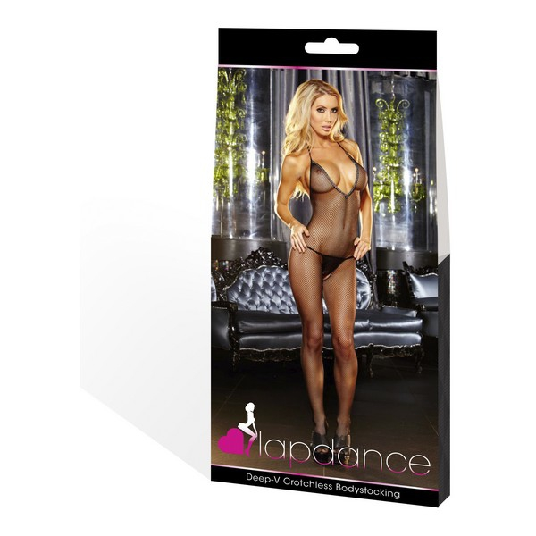 Bodystocking Deep V Crotchless Lapdance Zwart