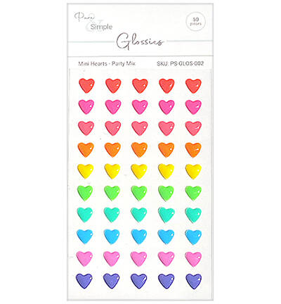 Pure & Simple Mini Hearts, Party Mix (PS-GLOS-002)
