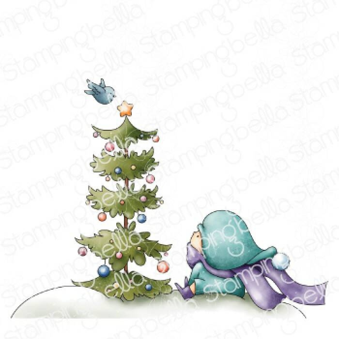 Stamping Bella Stempel - Bundle Girl With A Christmas Tree And A Birdie (eb1042)