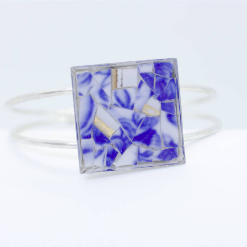 Verzilverde armband blauw/wit - Silver plated bracelet in blue and white