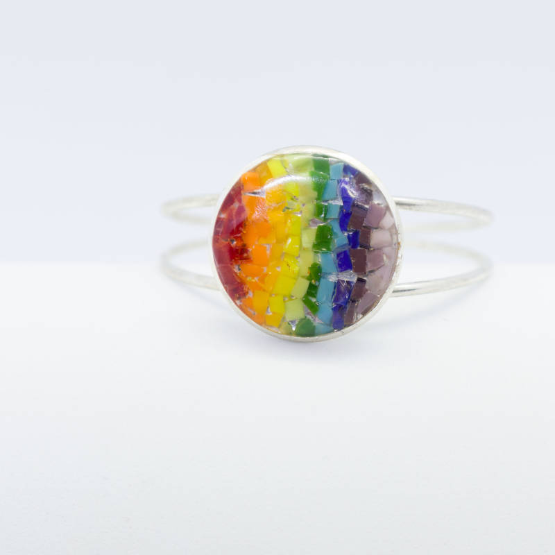 Verzilverde armband in regenboogkleuren - Silver plated bracelet in rainbow colors
