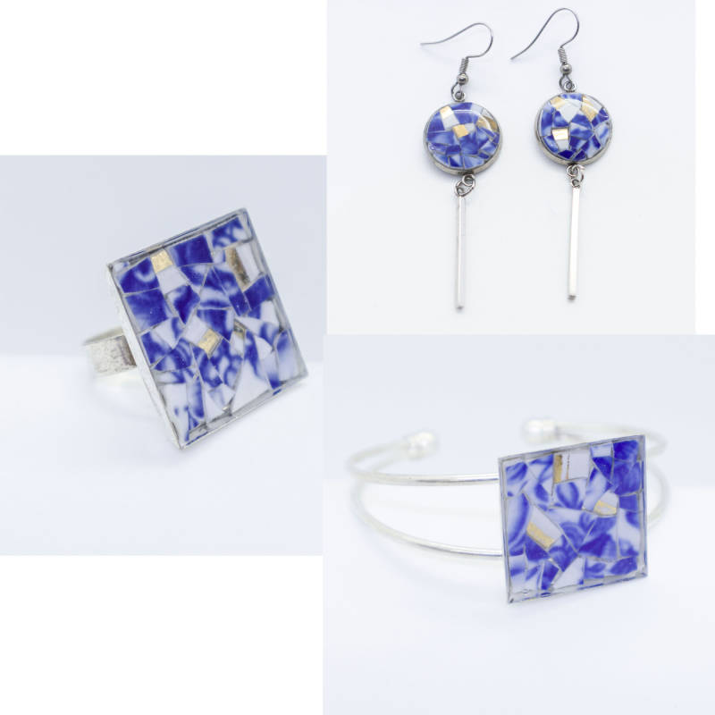 Sieraden Set, blauw/wit porselein met grote ring - Jewelry set, white and blue porcelain, Large ring