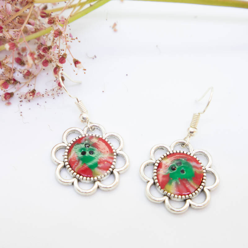 Oorbellen rood/groen - Dangle and drop earrings red/green