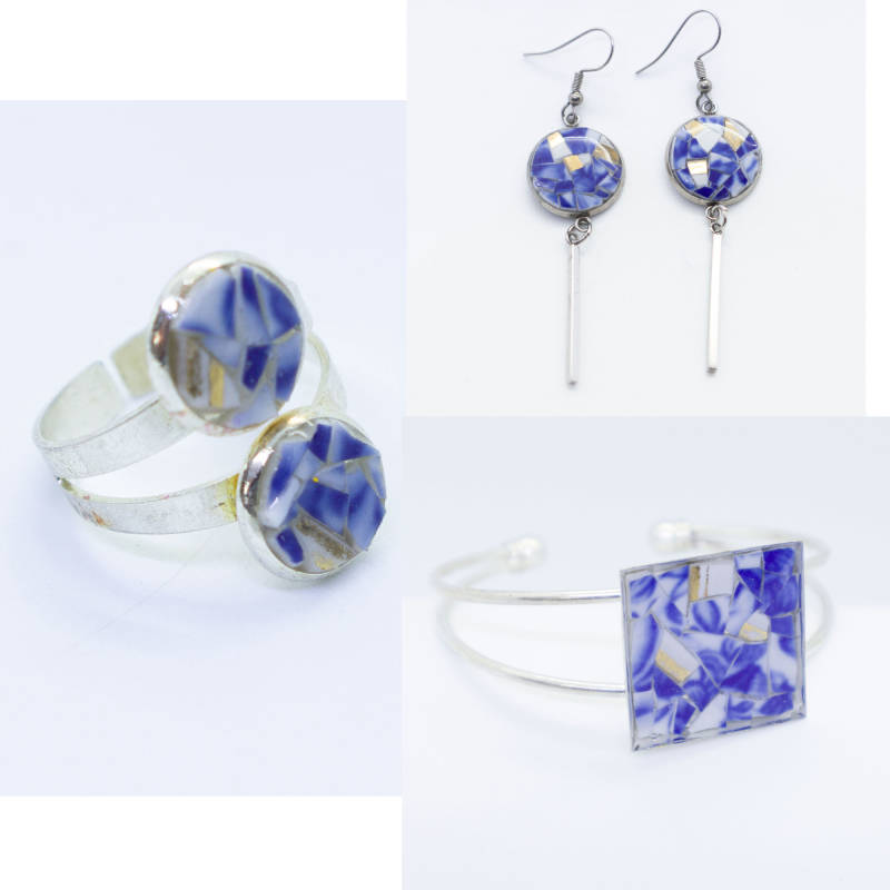 Sieraden Set, blauw/wit porselein met kleine ring - Jewelry set, white and blue porcelain, small ring