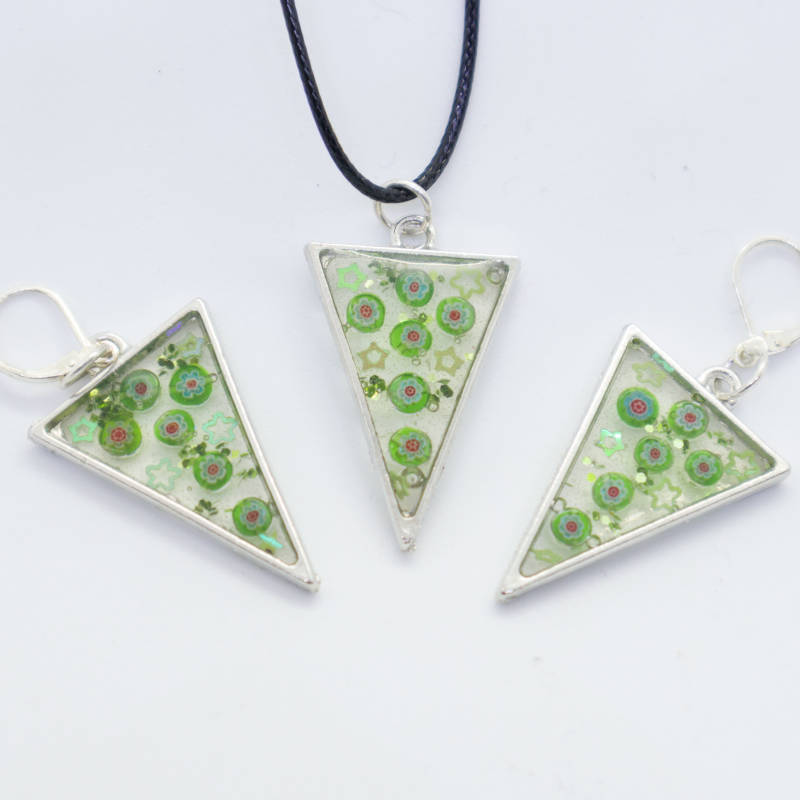 Party hanger en oorbellen, groen - Party pendant and earrings, green