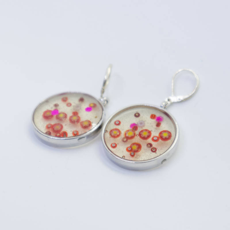 Party oorbellen (rood) - Party pendant and earrings (red)