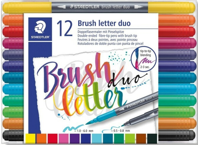 Brush letter duo penseel lettering pen - set 12