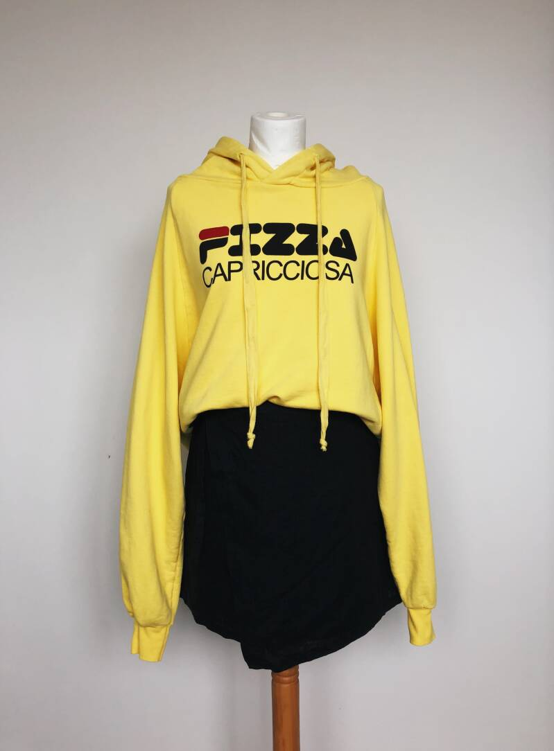 Hoodie cropped yellow