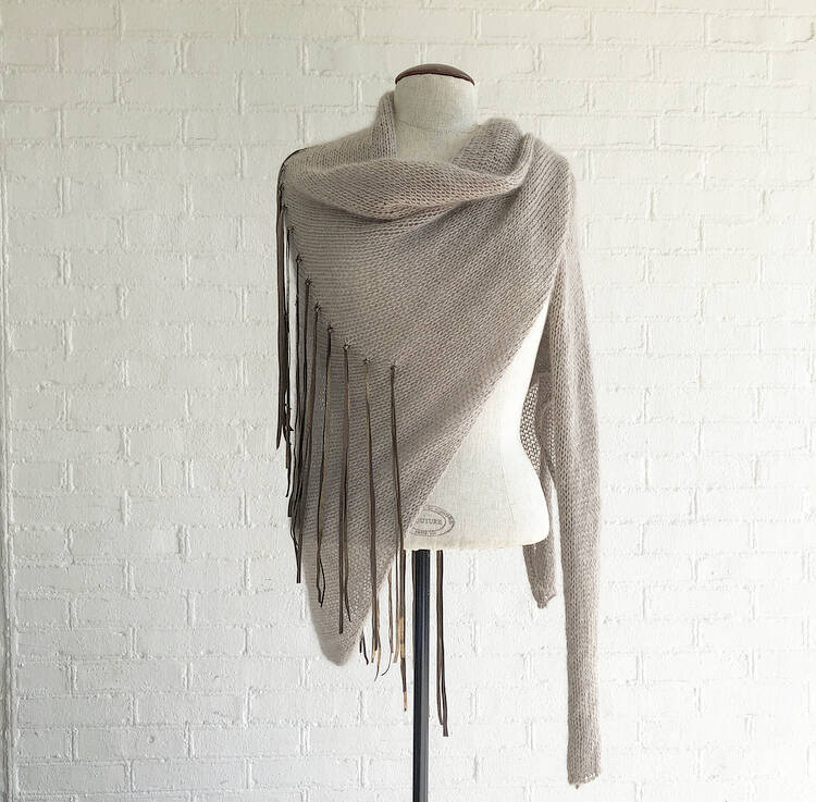 Pure Leather Fringe Light Wrap