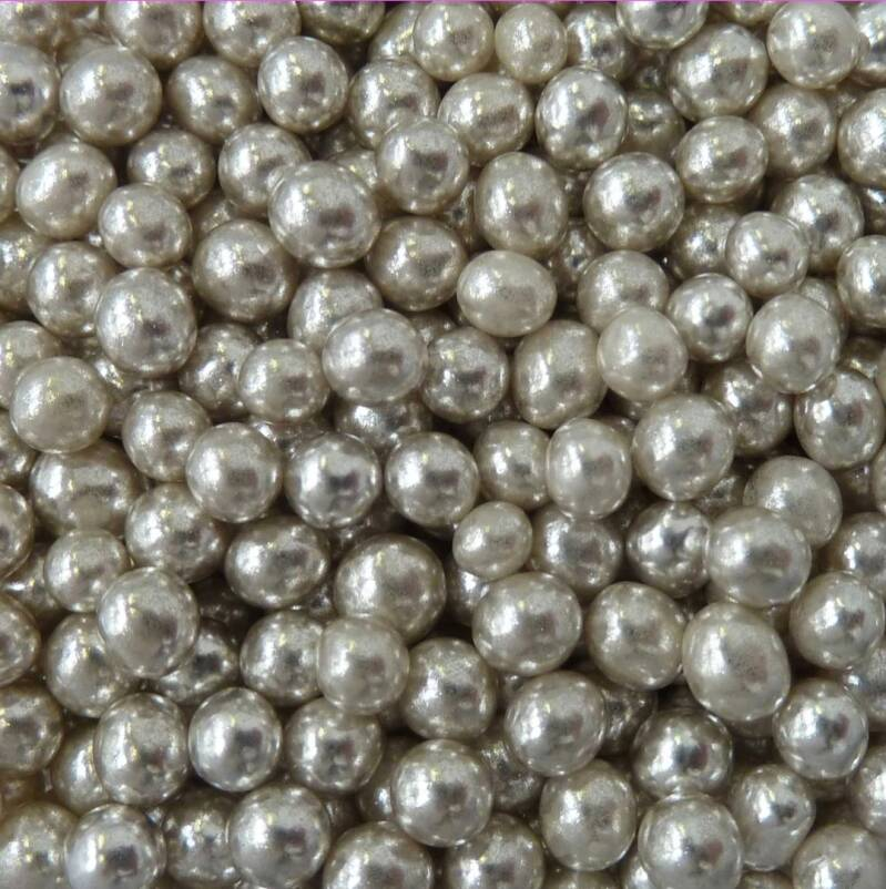Metallic pearls silver*