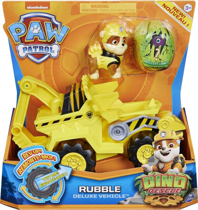PAW Patrol Dino Rescue Rubble Deluxe Rev Up Vehicle