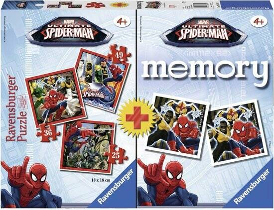 Ravensburger Spiderman 3in1 Puzzel 25-49 Stukjes + Memorie