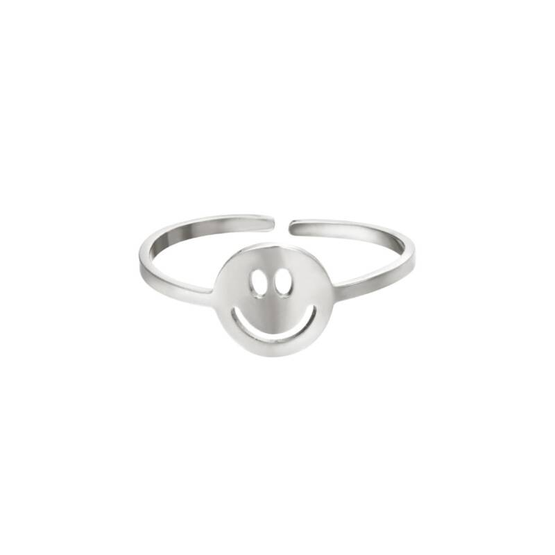 ring- smiley zilver