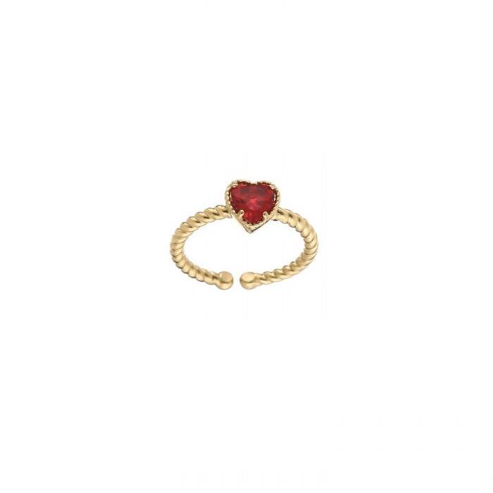 ring- rood hartje goud