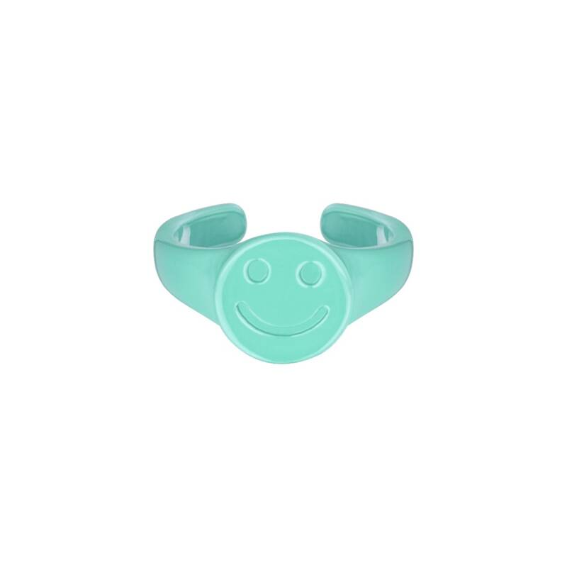 ring- candy smiley turkoois