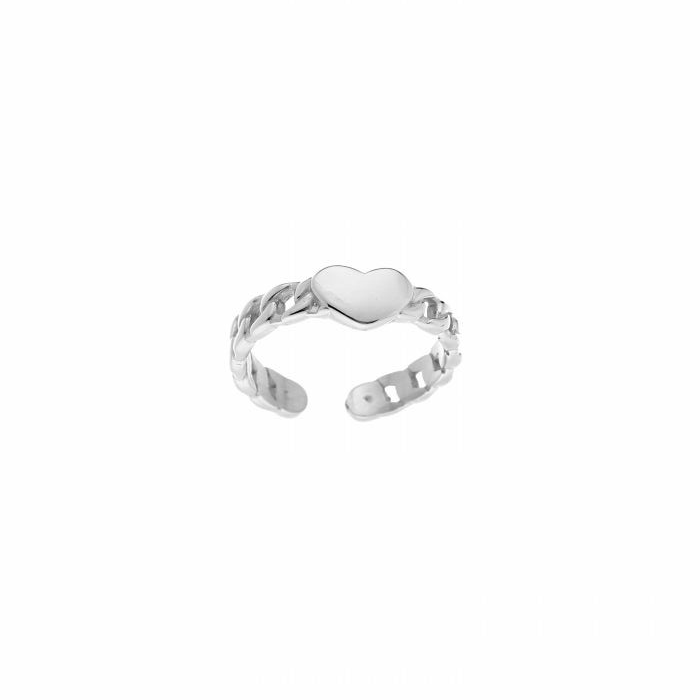 ring- hartje chain zilver