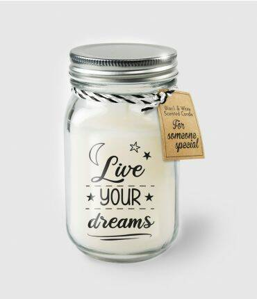 Black & White scented candles - Live your dreams